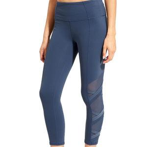 Athleta Chaturanga Iron Blue Mesh Leg Tights XS